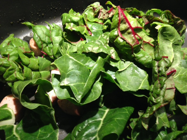 ... added in the Swiss Chard and let it cook down for about 3 minutes